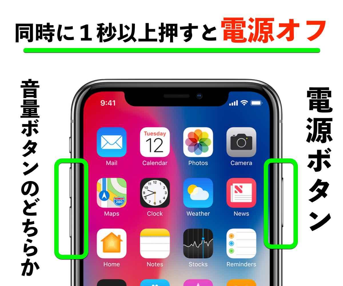 iPhoneX電源OFFの操作の写真