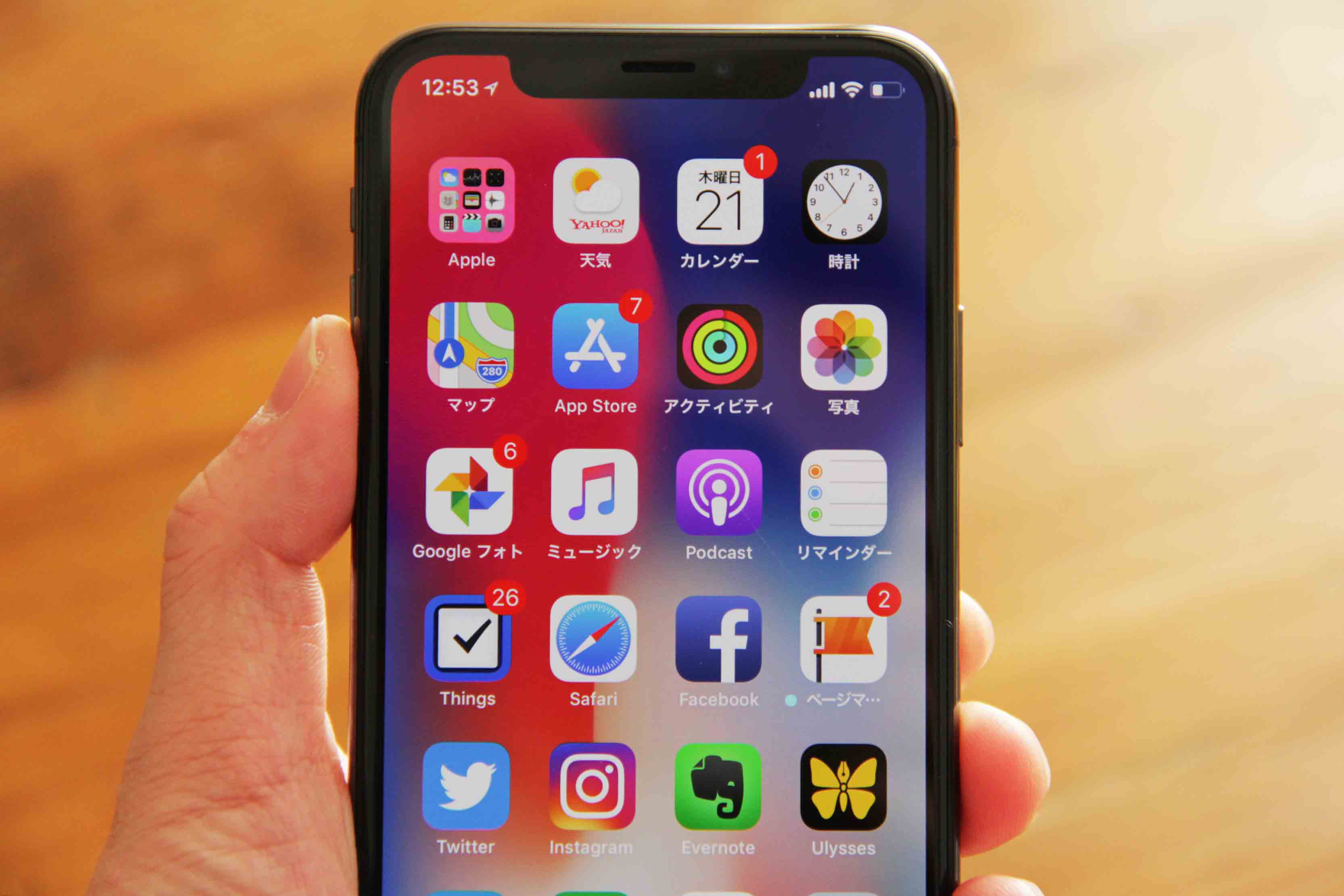 iPhoneXディスプレイに傷の写真