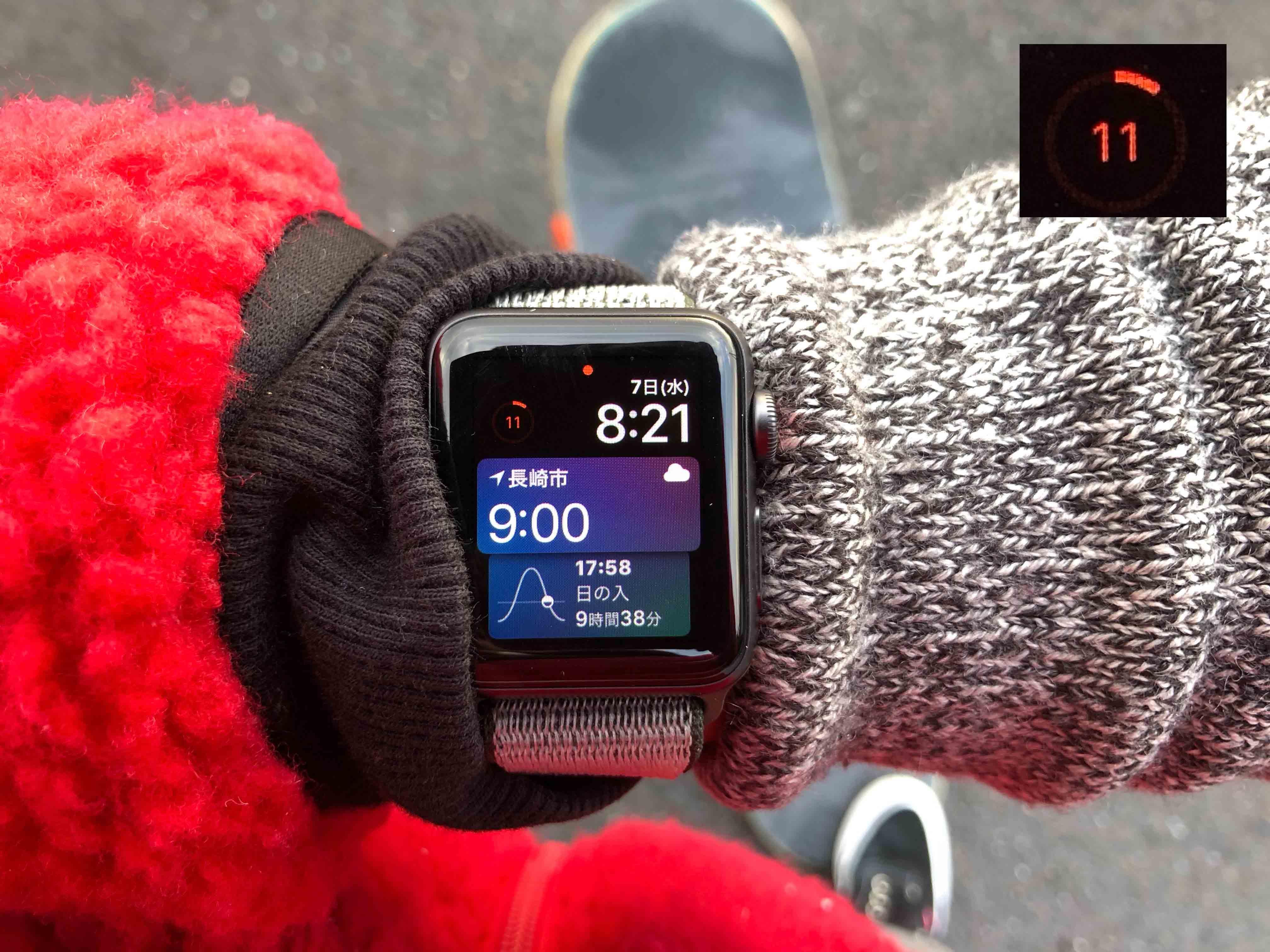 AppleWatchバッテリー11%に関する写真.