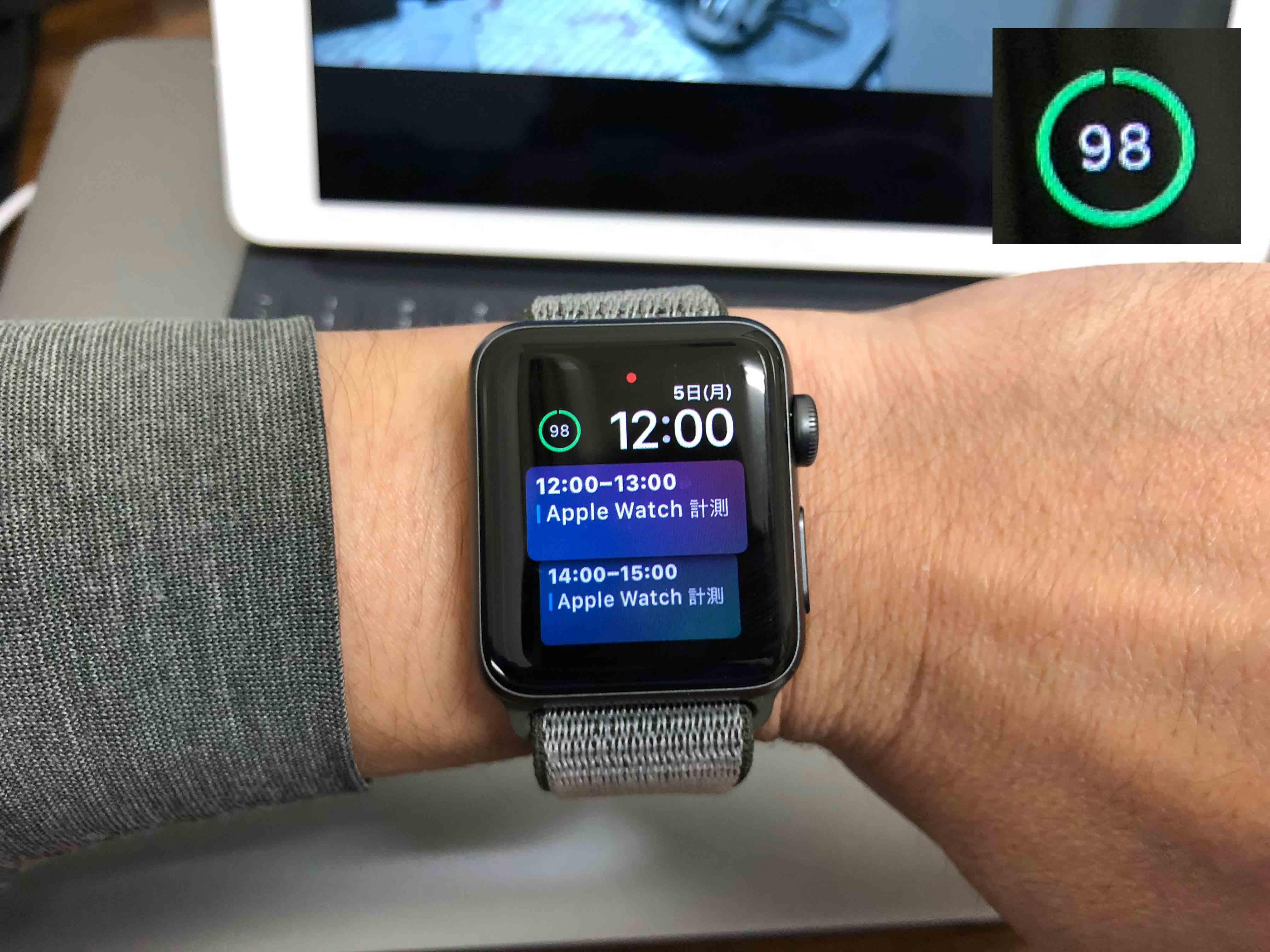 AppleWatchバッテリー98%に関する写真.