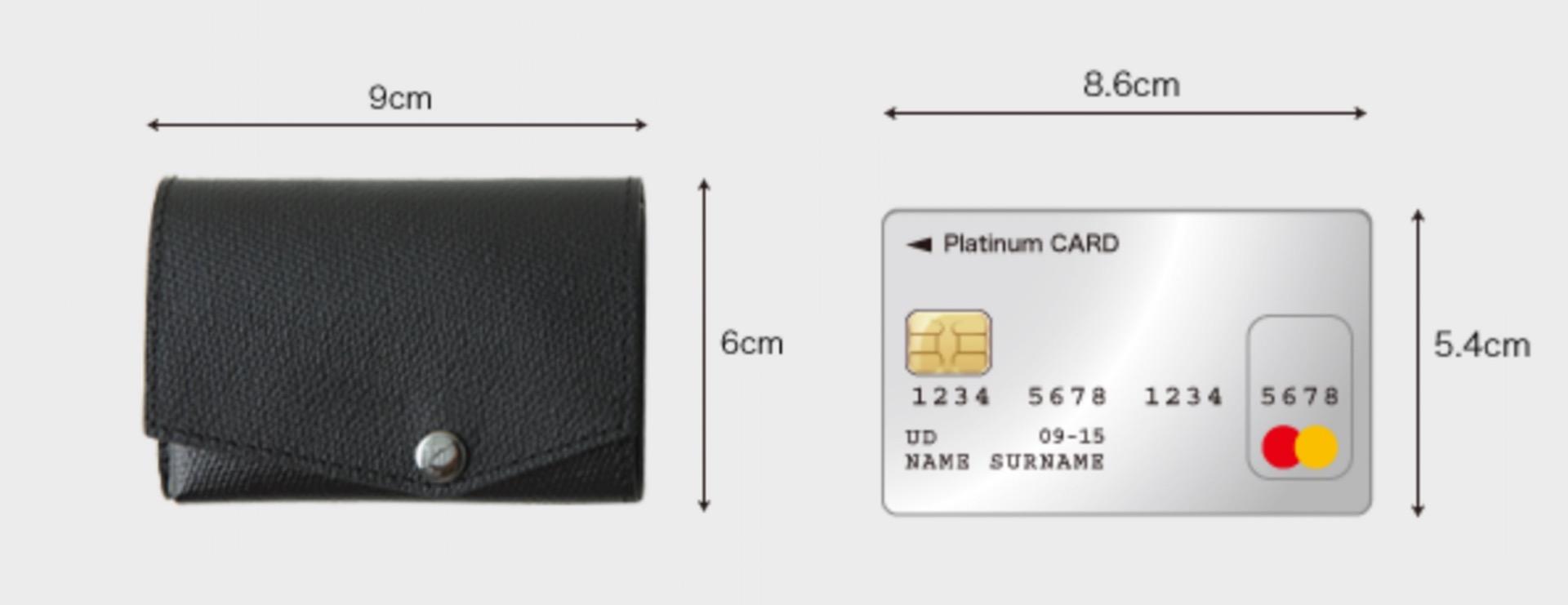 小さい財布とカードのサイズを比較した画像