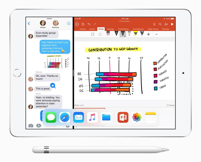 iPad-9-7-inch-split-screen_複数アプリ使用の画像