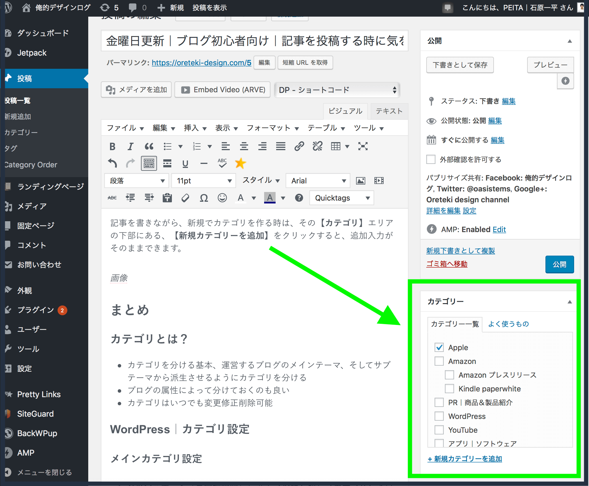 WordPressの記事投稿画面でカテゴリを設定している画層