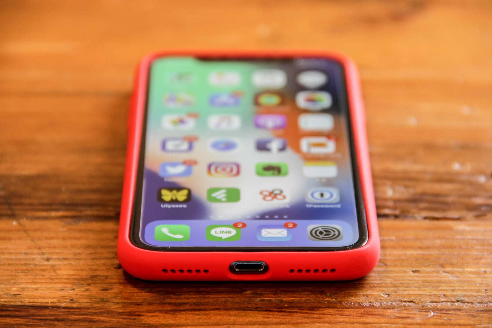 iPhone X Jasbon シリコンケース外観 前面下部の写真