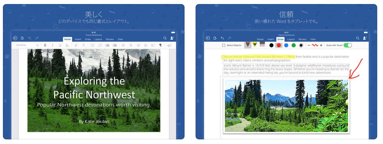 Microsoft Word の実際に使っている画像