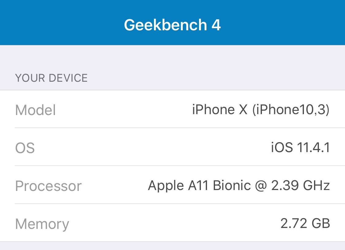 GeekbenchでのiPhone XのCPUスペック画像