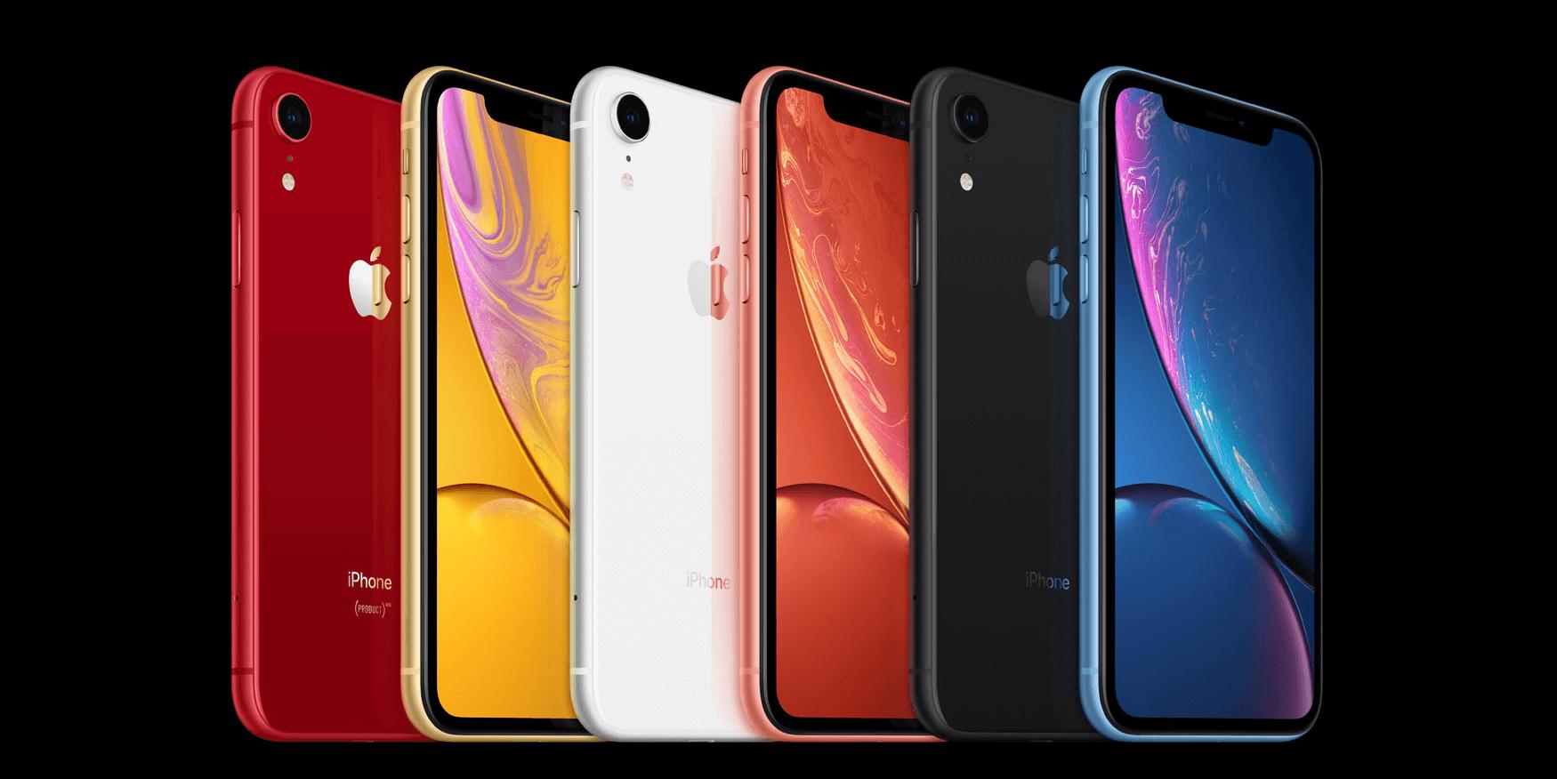 iPhone XRのカラーバリエーション画像